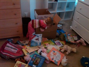 our kid unpacking after one of our many moves